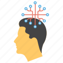 artificial intelligence, bionic man, expert system, neural network, robotic machine icon
