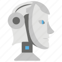artificial intelligence, bionic man, humanoid robot face, mechanical man, robot icon