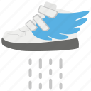 fast shoes, flying shoes, footwear, technological shoes, winged shoes icon