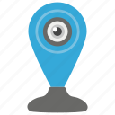 cyber eye, cyber monitoring, cyber security concept, mechanical eye, mini cam, motion tracker icon