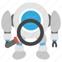 finding, robot finding, robotic research, searching, seo icon