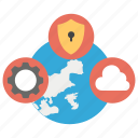 global network, global protection, global safety cloud, international management, secure network icon