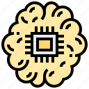 brain, center, memory, microchips, processor icon