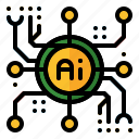 artificial, chip, core, intelligence, processor, robotic, technology icon