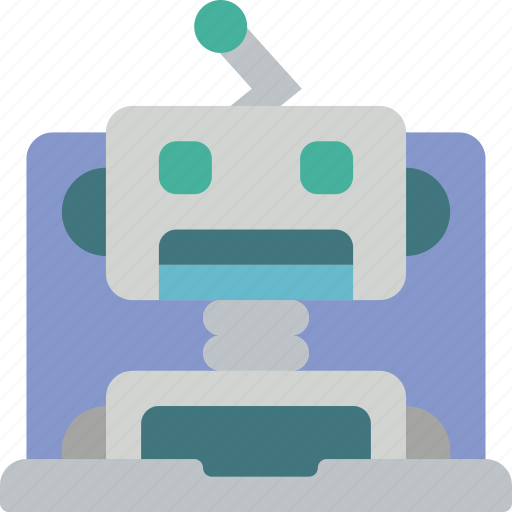 artificial, assistant, intelligence, laptop, machine, robot icon