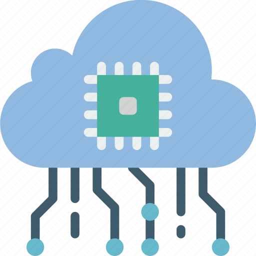artificial, cloud, intelligence, machine, robot icon