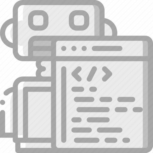 artificial, bot, coding, intelligence, machine, online, robot icon
