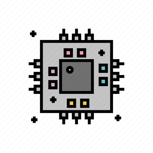 artificial, intelligence, learning, machine, microprocessor icon