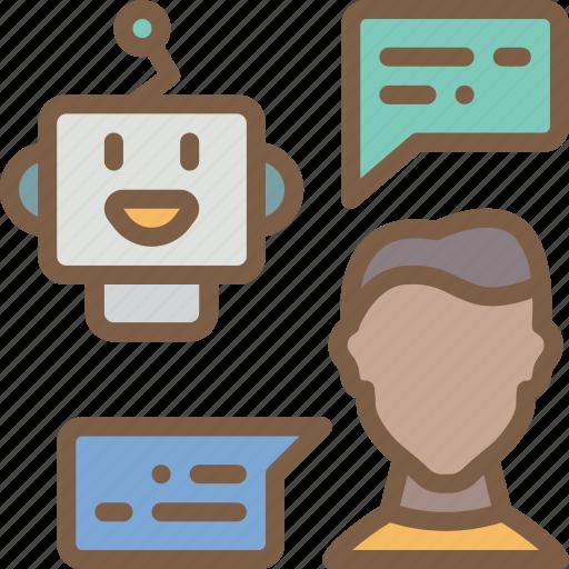 artificial, bot, chat, conversation, intelligence, machine, robot icon