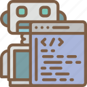 artificial, bot, coding, intelligence, machine, online, robot icon