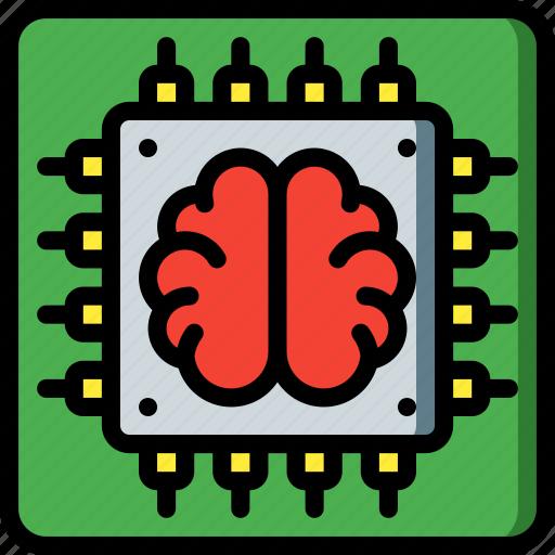artificial, brain, chip, intelligence, machine, robot icon