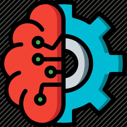 artificial, brain, intelligence, machine, options, robot icon