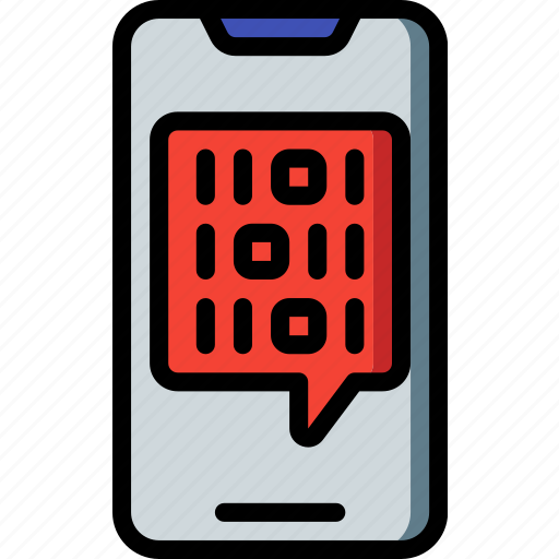 artificial, binary, intelligence, machine, phone, robot icon