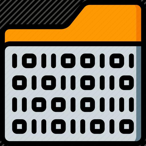 artificial, binary, folder, intelligence, machine, robot icon