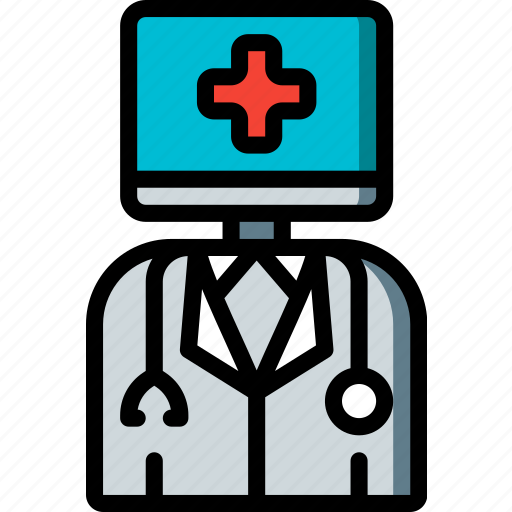 artificial, bot, doctor, intelligence, machine, robot icon