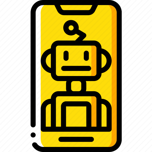 artificial, assistant, intelligence, machine, phone, robot icon