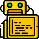 artificial, bot, code, intelligence, machine, robot, tablet icon