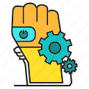 ai, arm, auto, control, gear, robot, robotic hand icon