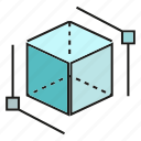 cube, cubic, dice, virtual reality icon