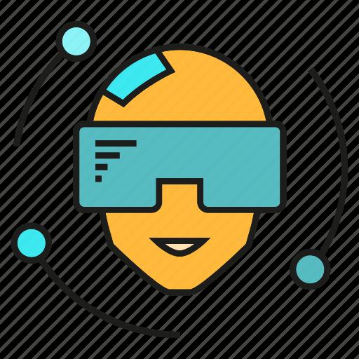Head, virtual reality, vr, smart glass, technology, gadget, smart icon