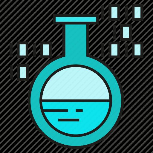 binary, chemical, digital, flask, lab, science, tube icon