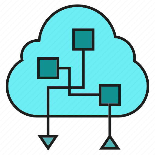 cloud, cloud computing, data, internet, network, processing, server icon