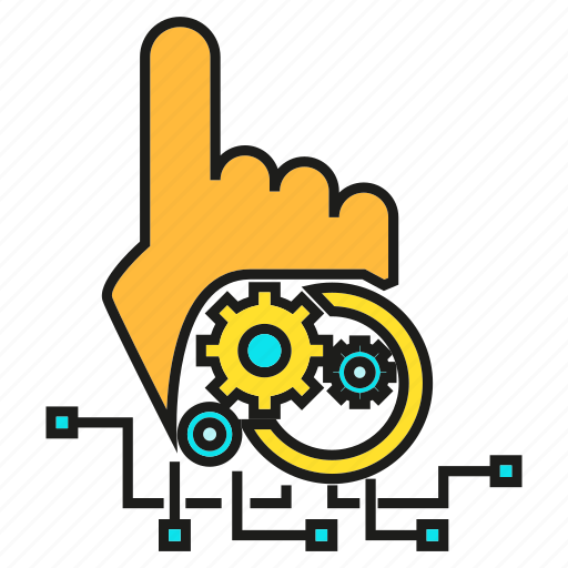 artificial intelligence, control, gear, hand, pointer, robot, technology icon
