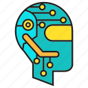 circuit, cyber, head, humanoid, robot icon