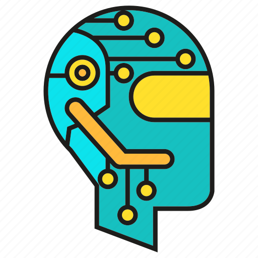 Circuit, head, robot, cyber, humanoid icon