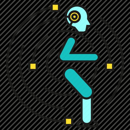 artificial intelligence, auto, human, humanoid, robot, robotics, running icon