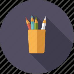 art, artistix, color pencils, crayons, creative, mug, pencils icon