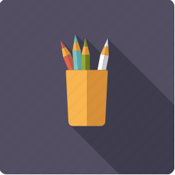 art, color, design, mug, pencils, utensil icon
