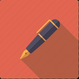 fountain, pen, utensil, writing icon