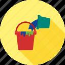 box, bucket, container, cream, paint, plastic