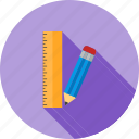 eraser, office, pencil, pencils, ruler, sharp, wood icon