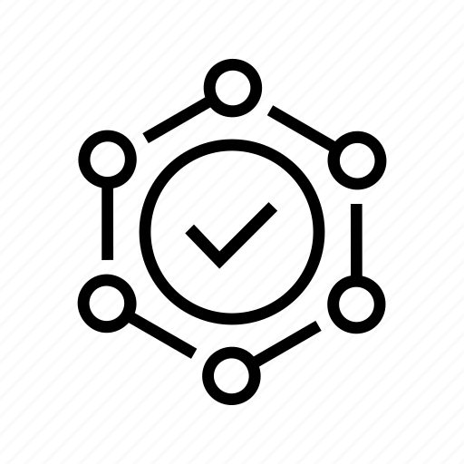 aspects, check, connections, nodes, okay icon
