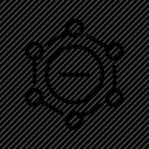 aspects, connections, delete, minus, nodes, remove icon