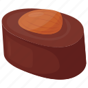 almond chocolate, sweet food, confectionery, molasses chew, chocolate candy icon
