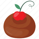 cherry topping, chocolate, chocolate ganache, melted chocolate, sweet treat icon