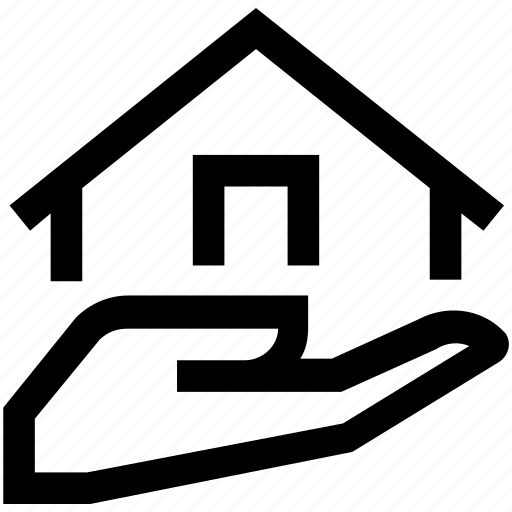 assurance, estate, hand, house, insurance, mortgage, real icon