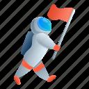 astronaut, flag, man, star