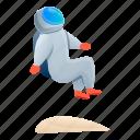 astronaut, hand, jump