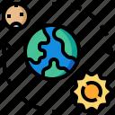 comet, earth, orbit, sun, world icon
