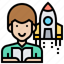 aerospace, astronomer, engineering, physicist, rocket icon