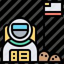 astronaut, discover, mission, moonwalk, spacesuit icon