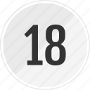 eighteen, media, music, number, track icon