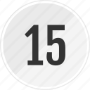 fifteen, media, music, number, track icon