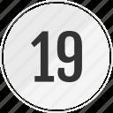 media, music, nineteen, number, track icon
