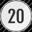 media, music, number, track, twenty icon