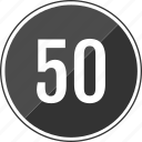 fifty, music, number, track icon